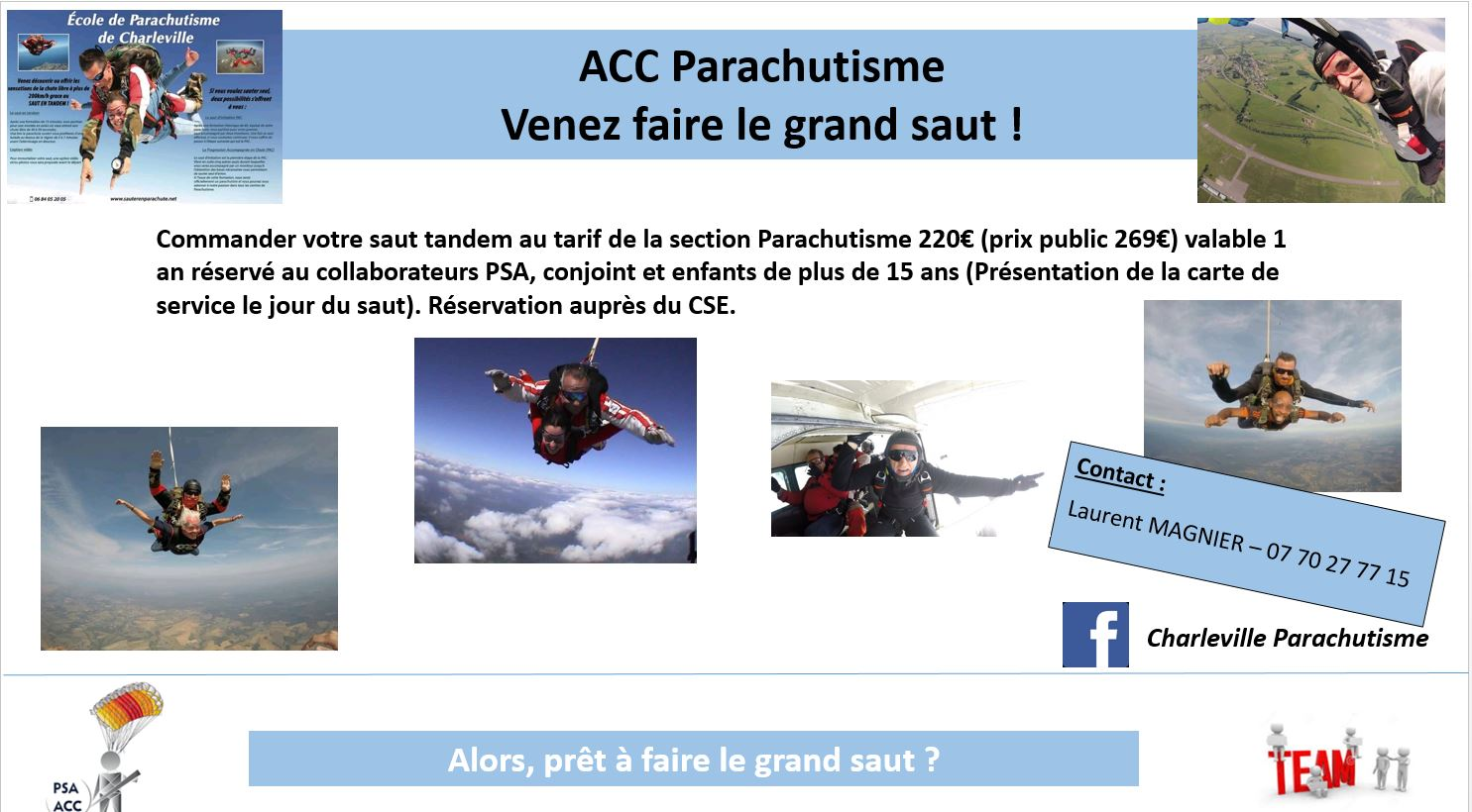 ACC Parachutisme venez faire le grand saut